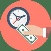 イメージ画像 買取屋さんグループはスピード査定・即日入金を伝える時計とお金を支払うイメージイラスト