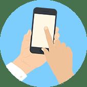 イメージ画像 買取屋さんグループにお電話一本で手続きがカンタンということを伝えるスマートフォンから電話かけているイメージイラスト