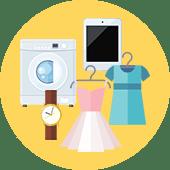 イメージ画像 買取屋さんグループは買取対応表に載っていない品目でも買取できることを伝えるドレスや時計、家電などのイメージイラスト