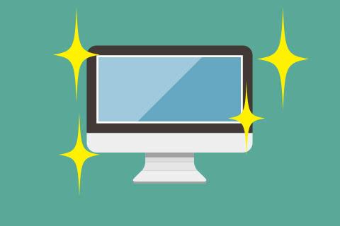 イメージ画像 買取屋さんグループの買取査定でお品物をキレイにした場合、買取査定額があがることを伝える綺麗なパソコンのイメージイラスト