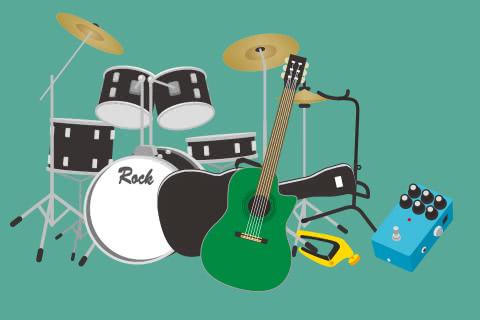 イメージ画像 買取屋さんグループに売る時にはまとめて売ると査定額があがることを伝える楽器セットのイメージ画像